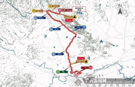 比赛线路:南宁青秀万达广场(起点)-厢竹大道-秀厢大道-安吉大道-国道